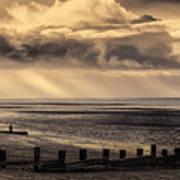 Stormy English Coastal Seascape Poster