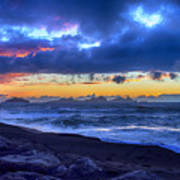 Stormy Icelandic Sunset Poster