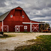 Stormy Red Barn Poster