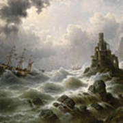 Stormy Sea With Lighthouse On The Coast Poster