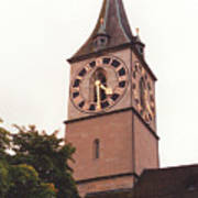St.peter Church Clock In Zurich Switzerland Poster