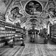 Strahov Monastery Theological Hall Bw Poster