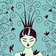 Strange Hairstyle And Flowery Swirls Poster