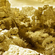Strange Rock Formations At El Torcal Near Antequera Spain Poster