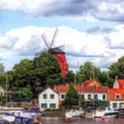 Windmill In Strangnas Sweden Poster
