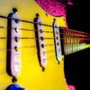 Stratocaster Pop Art Pink Fire Neck Series Poster