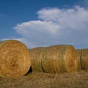 Straw Bales On A Hog Farm In Kansas Poster