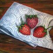 Strawberries-3 Contemporary Oil Painting Poster