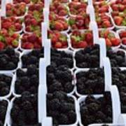Strawberries And Blackberries Poster