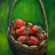 Strawberries Contemporary Oil Painting Poster