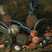 Strawberries In A Porcelain Bowl With Pineapples Melons Peaches And Figs Before A Tropical Landscape Poster