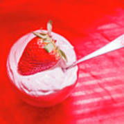 Strawberry Yogurt In Round Bowl With Spoon Poster