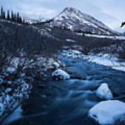 Mountain Stream In Twilight Poster