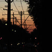 Street Car Sunset Poster