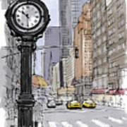 Street Clock On 5th Avenue Handmade Sketch Poster