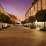 Street In Ostrow Tumski By Night In Wroclaw Poster