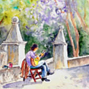 Street Musician In Pollenca Poster