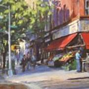 Streetscape With Red Awning - 82nd Street Market Poster