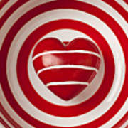Striped Heart In Bowl Poster by Garry Gay