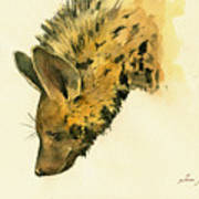 Striped Hyena Animal Art Poster