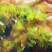 Structure Of Wooden Log Covered With Moss, Closeup Painting Detail. Poster