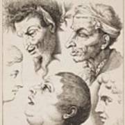 Studies Of Heads Anonimo, Blooteling Abraham Poster
