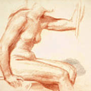 Study Of A Female Nude Seated Poster