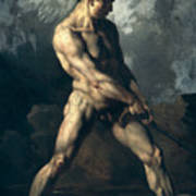 Study Of A Male Nude Poster by Theodore Gericault