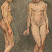 Study Of A Naked Model Poster