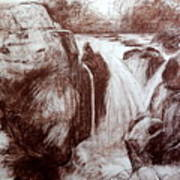 Study Of Rocks At Betws-y-coed Poster