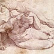 Study Of Three Male Figures Poster by Michelangelo