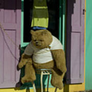 Stuffed Bear Chained To A Door Poster