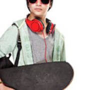 Stylish Boy With Skateboard Poster
