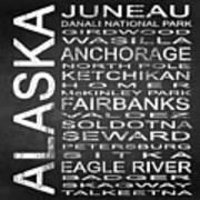 Subway Alaska State Square Poster