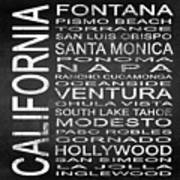 Subway California State 5 Square Poster