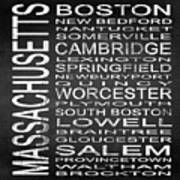 Subway Massachusetts State Square Poster