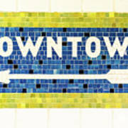 Subway Tile Sign Downtown Poster