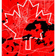 Sudbury Street Map - Sudbury Canada Road Map Art On Canada Flag Symbols Poster