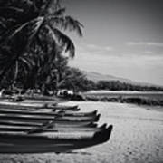 Sugar Beach Hawaiian Outrigger Canoes Kihei Maui Hawaii  Poster