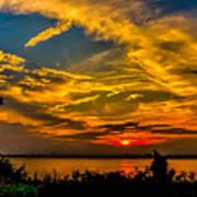 Summer Sunset Over The Delaware River Poster