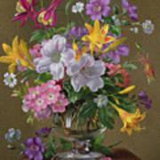 Summer Arrangement In A Glass Vase Poster