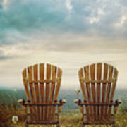 Summer Chairs Sand Dunes And Ocean In Background Poster