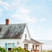 Summer Cottage And Flowers By The Ocean Poster