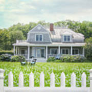 Summer Cottage And White Picket Fence With Flowers Poster