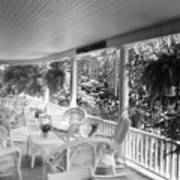 Summer Day On The Victorian Veranda Bw 03 Poster