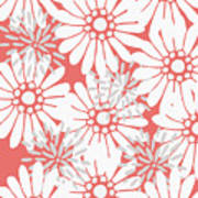 Summer Flowers Red Poster