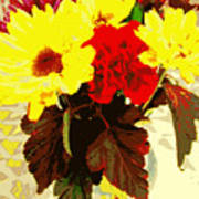 Summer Flowers Yellow Daisies Poster