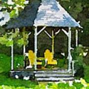 Summer Gazebo With Yellow Chairs Poster