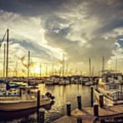 Summer Harbor Sunset Poster
