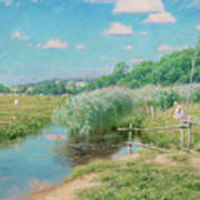 Summer Landscape With Children Poster